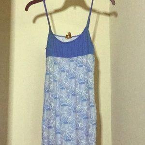 Long blue spaghetti straps top